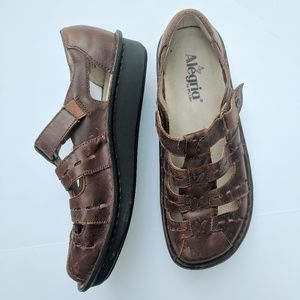 Alegria Brown Leather Pesca Sandals